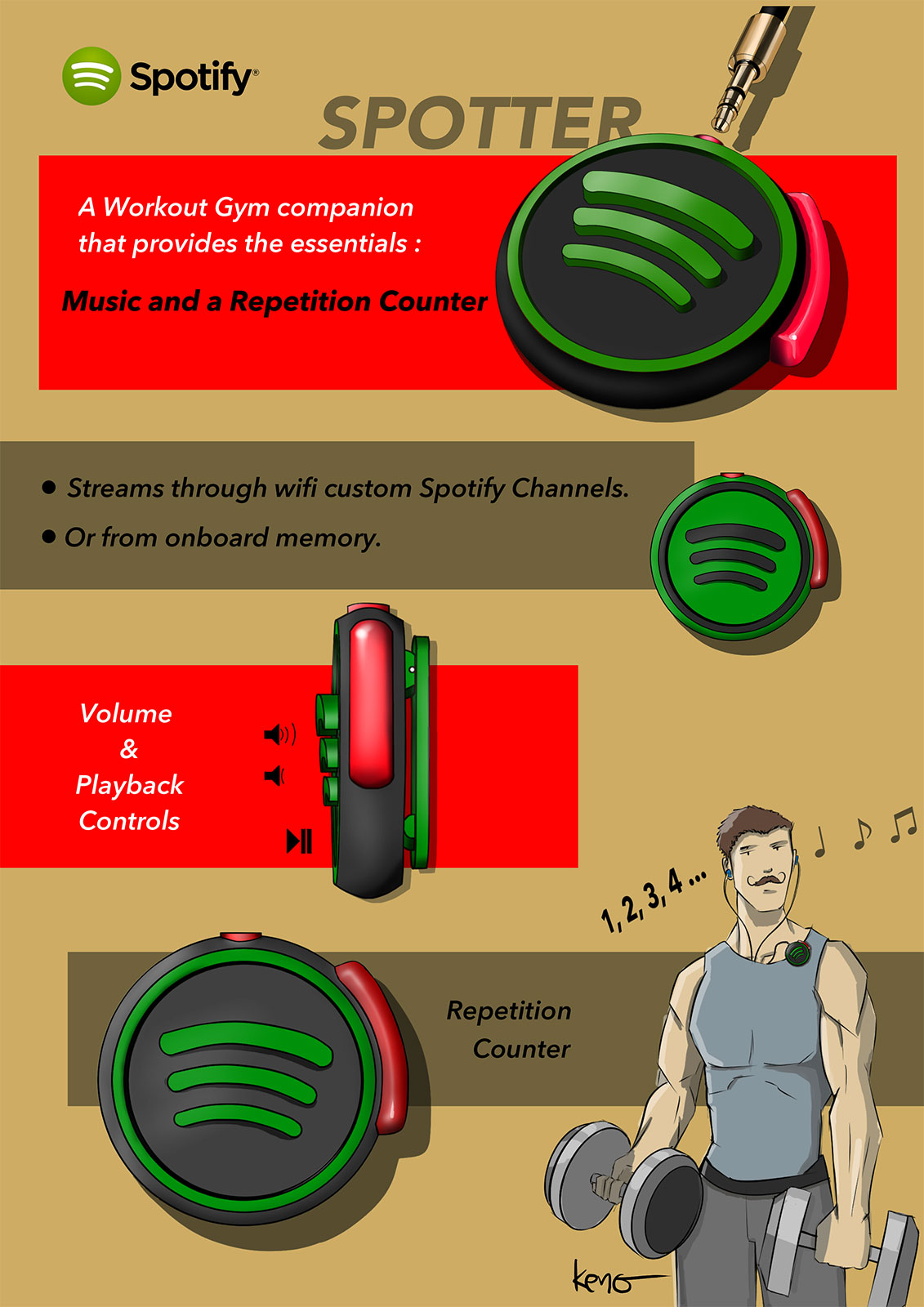 Product Concept Design Spotify Spotter Gym Companion